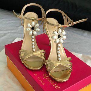 Kate Spade Pearl & Jewel Embellished Gold Heels